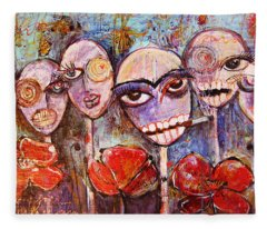 5 Poppies For The Dead Fleece Blanket