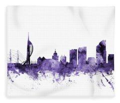Portsmouth England Skyline Fleece Blanket
