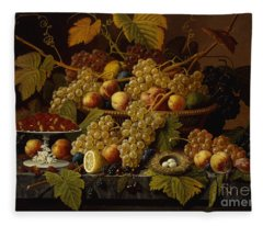 Still Life With Fruit Fleece Blanket