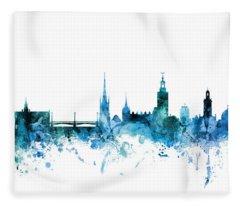 Stockholm Sweden Skyline Fleece Blanket