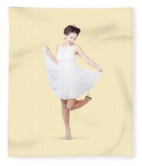 50s Pinup Woman In White Dress Dancing Fleece Blanket