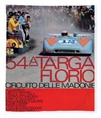 54th Targa Florio Porsche Race Poster Fleece Blanket