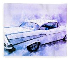 57 Chevy Belair Hardtop Watercolour Illustration Fleece Blanket