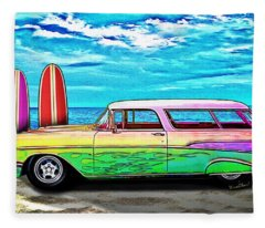 57 Chevy Nomad Wagon Best Part Of Waking Up Fleece Blanket