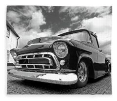 57 Stepside Chevy In Black And White Fleece Blanket