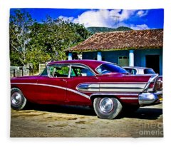 '58 Buick Classic American Car In Cuba Fleece Blanket
