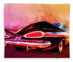 59 Chevy Ticket To Ride Watercolour Fleece Blanket