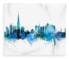 Dubai Skyline Fleece Blanket