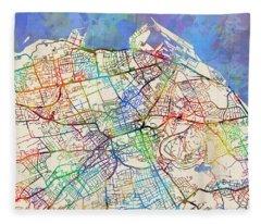 Edinburgh Street Map Fleece Blanket