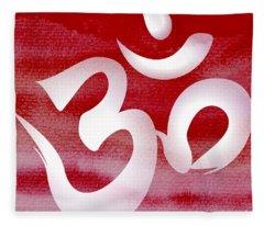 Om Symbol. Red And White Fleece Blanket