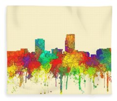 Omaha Nebraska Skyline Fleece Blanket
