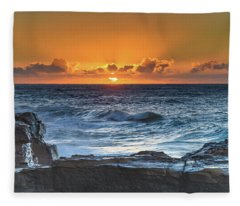 Sunrise Seascape With Sun Fleece Blanket