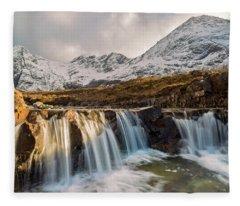 The Fairy Pools, Isle Of Skye Fleece Blanket