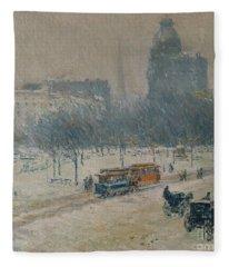 Winter In Union Square Fleece Blanket