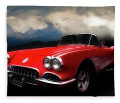 60 Corvette Roadster In Red Fleece Blanket