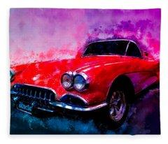 60 Red Corvette Watercolour Illustration Fleece Blanket