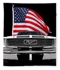 66 Mustang With U.s. Flag On Black Fleece Blanket