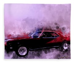 69 Camaro Up At Rocky Ridge At The Lake - Watercolour Fleece Blanket
