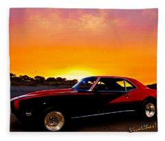 69 Camaro Up At Rocky Ridge For Sunset Fleece Blanket