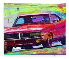 69 Dodge Charger  Fleece Blanket