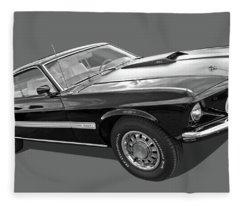 69 Mach1 In Black And White Fleece Blanket