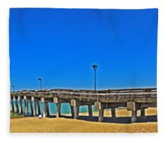 6x1 Venice Florida Beach Pier Fleece Blanket