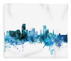 Miami Florida Skyline Fleece Blanket