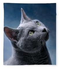 Russian Blue Cat Fleece Blanket