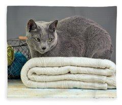 Russian Blue Fleece Blanket