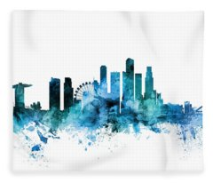 Singapore Skyline Fleece Blanket