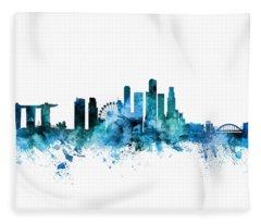 Singapore Skyline Fleece Blanket