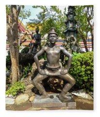 Thai Yoga Statue At Famous Wat Pho Temple Fleece Blanket