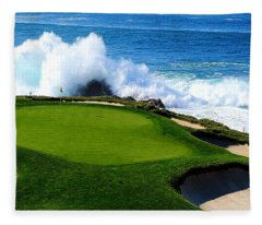 7th Hole - Pebble Beach  Fleece Blanket