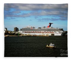 Cruise Ship In Port Fleece Blanket