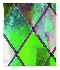 Diamond Pane Green Fleece Blanket