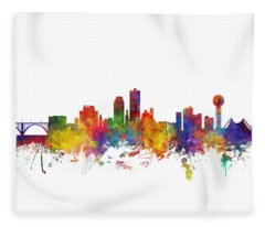 Knoxville Tennessee Skyline Fleece Blanket