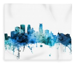 Minneapolis Minnesota Skyline Fleece Blanket
