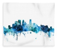 Minneapolis Minnesota Skyline Fleece Blanket