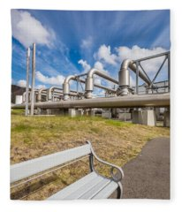 Pipes At Nesjavellir Geothermal Power Fleece Blanket