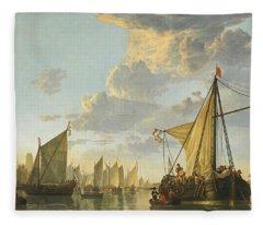 The Maas At Dordrecht -- Fleece Blanket