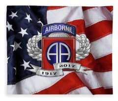 82nd Airborne Division 100th Anniversary Insignia Over American Flag  Fleece Blanket