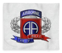 82nd Airborne Division 100th Anniversary Insignia Over White Leather Fleece Blanket