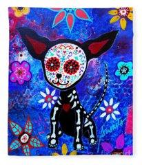 Chihuahua Dia De Los Muertos Fleece Blanket