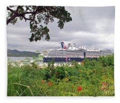 Cruise Ship In Port Fleece Blanket
