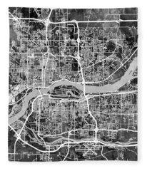 Quad Cities Street Map Fleece Blanket