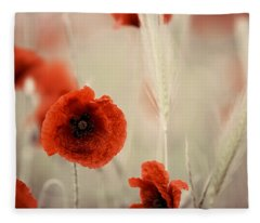 Summer Poppy Meadow Fleece Blanket