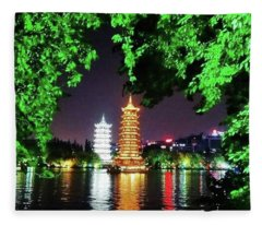 Sun And Moon Pagoda Green Leaves Fleece Blanket