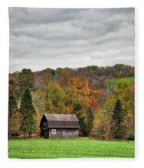 A Barn In Autumn Fleece Blanket