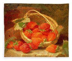 A Basket Of Strawberries On A Stone Ledge Fleece Blanket