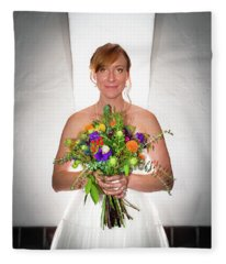 A Beautiful Backlit Bride And Her Bouquet Fleece Blanket